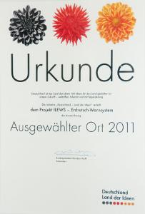 """Urkunde """"Ausgewählter Ort 2011"""""""