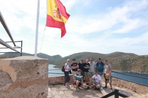 Group photo at the castle ruin of Cabrera