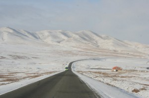 The highway to Darkhan.