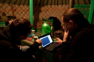 Working in the yurt.
