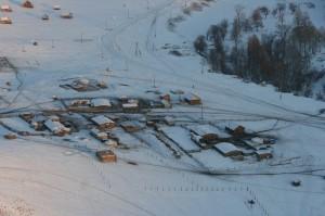 Detailaufnahme einer Ortschaft im Sognegor Tal.