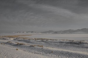 A snow covered salt lake to the north of Darkhan.