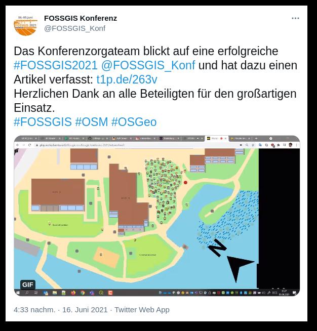 Screenshot eines Tweets zur FOSSGIS 2021